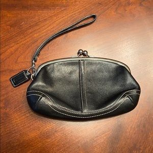 Black leather Coach change purse looking wristlet